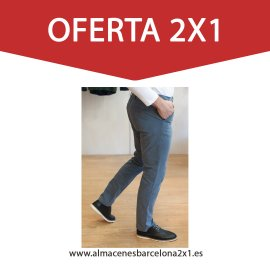 pantalon chino elastico gris oferta
