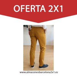 pantalon chino elastico mostaza oferta