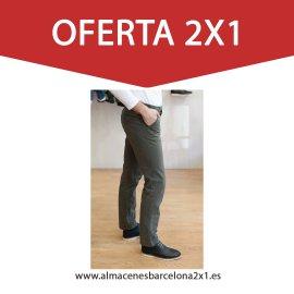 pantalon chino elastico verde kaki oferta