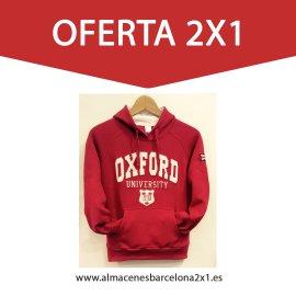 sudadera capucha oxford rojo oferta