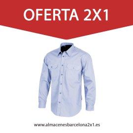 camisa de trabajo celeste oferta